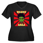 ZOMBIE-BRAINS-SMILE Women's Plus Size V-Neck Dark