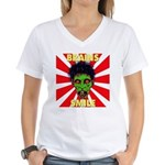 ZOMBIE-BRAINS-SMILE Women's V-Neck T-Shirt