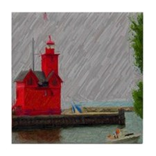 Big Red Lighthouse Michigan   Tile Coaster