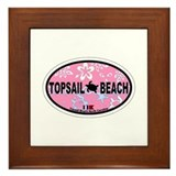 Topsail Beach NC - Oval Design Framed Tile
