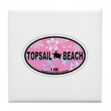Topsail Beach NC - Oval Design Tile Coaster