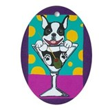 Boston Terrier Martini Oval Ornament