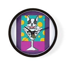 Boston Terrier Martini Wall Clock