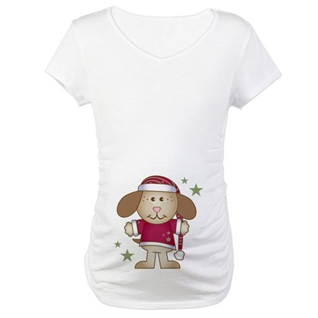 Santa Christmas Eve Puppy Maternity T-Shirt