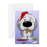 Sheepdog Santa's Cookies Greeting Card