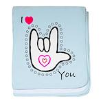 B/W Bold I-Love-You Infant Blanket