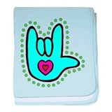 Aqua Bold Love Hand Infant Blanket