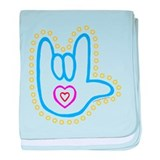 Blue Bold Love Hand Infant Blanket