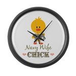 Proud Navy Wife Chick Large Wall Clock