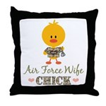 Proud Air Force Wife Chick Throw Pillow