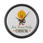 Proud Air Force Wife Chick Large Wall Clock
