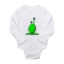 Funny Green Alien Long Sleeve Infant Bodysuit