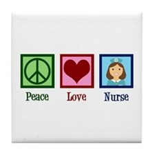 Peace Love Nurse Tile Coaster