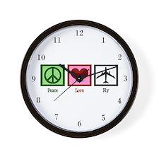 Peace Love Fly Wall Clock