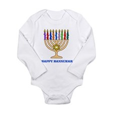 Hannukah Menorah Long Sleeve Infant Bodysuit