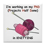 Knitting PhD (projects half d Tile Coaster