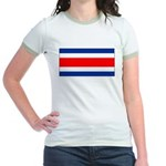 Costa Rica Flag Jr. Ringer T-Shirt