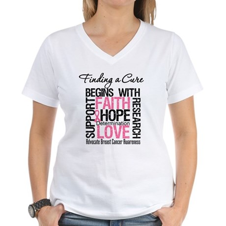 Finding a Cure Breast Cancer Women's V-Neck T-Shir