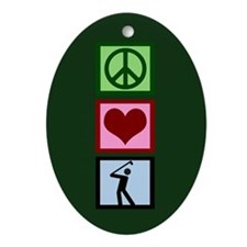 Peace Love Golf Ornament (Oval)
