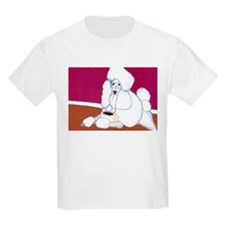 White Poodle Coffee Dog Kids T-Shirt