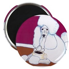 White Poodle Coffee Dog Magnet