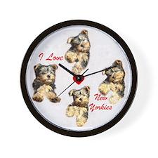 I Love New Yorkies Wall Clock