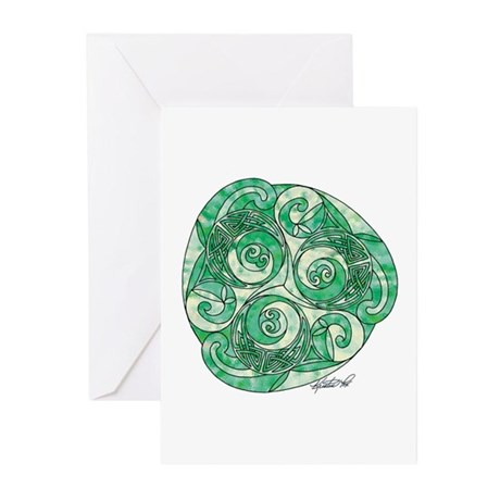 Celtic Green TriSpiral Greeting Cards (Pk of 10)