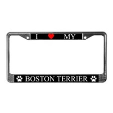Black I Love My Boston Terrier Frame
