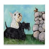 SCOTTIES and FEATHERED FRIEND Tile Coaster