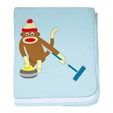 Sock Monkey Olympic Curling Infant Blanket