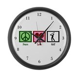 Peace Love Golf Large Wall Clock