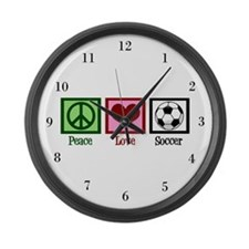 Peace Love Soccer Large Wall Clock