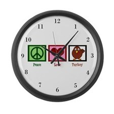 Peace Love Turkey Large Wall Clock