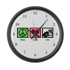 Peace Love Cats Large Wall Clock