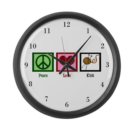 Peace Love Knit Large Wall Clock