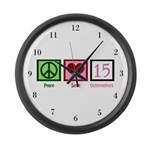 Peace Love Fifteen Large Wall Clock