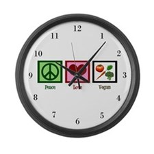 Peace Love Vegan Large Wall Clock