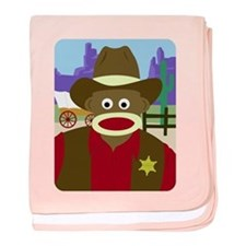 Sock Monkey Cowboy Infant Blanket