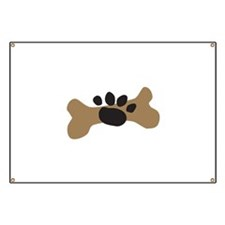 Dog Bone & Paw Print Banner
