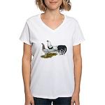 Yokohama Duckwing Chickens Women's V-Neck T-Shirt