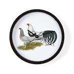 Yokohama Duckwing Chickens Wall Clock
