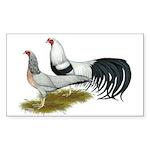 Yokohama Duckwing Chickens Sticker (Rectangle)