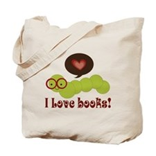 I Love Books Bookworm Tote Bag