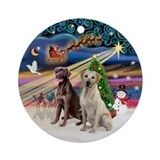 Xmas Magic - 2 Labs (Y+CHoc) Ornament (Round)