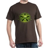 Green Skull, Star, Wreath Black T-Shirt