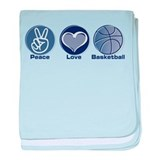 Peace Love Basketball baby blanket