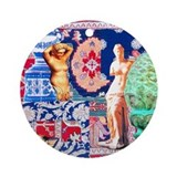 Tapestry in Blue Ornament (Round)