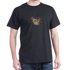 Asian Butterfly Black T-Shirt