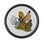 Sebright Rooster Assortment Large Wall Clock