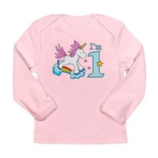 Rainbow Unicorn First Birthda Long Sleeve Infant T